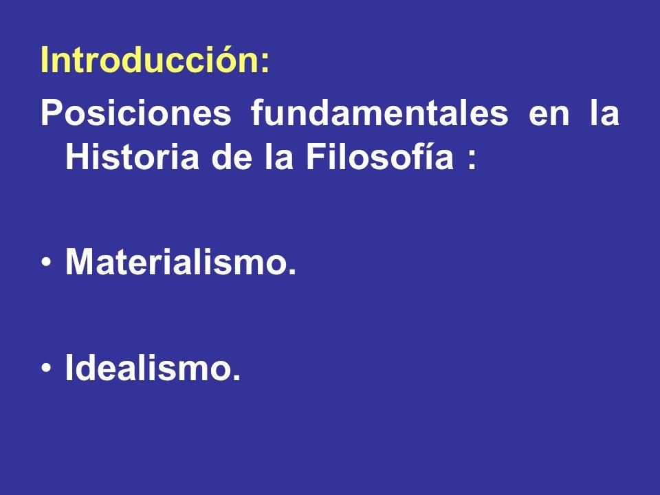 Introducción: Posiciones fundamentales en la Historia de la Filosofía : Materialismo. Idealismo.
