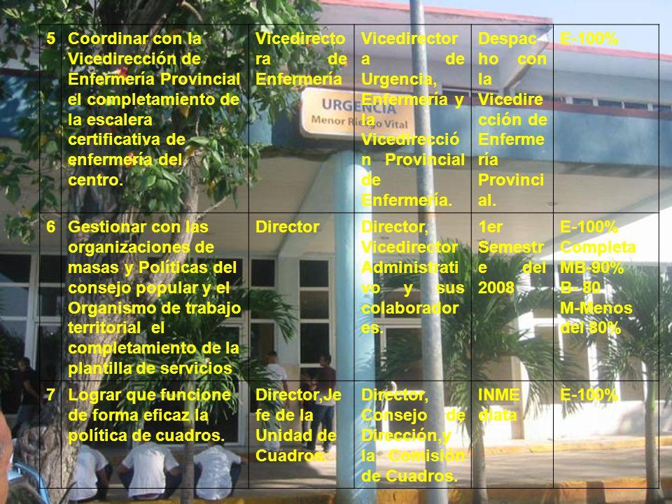 5 Coordinar con la Vicedirección de Enfermería Provincial el completamiento de la escalera certificativa de enfermería del centro.
