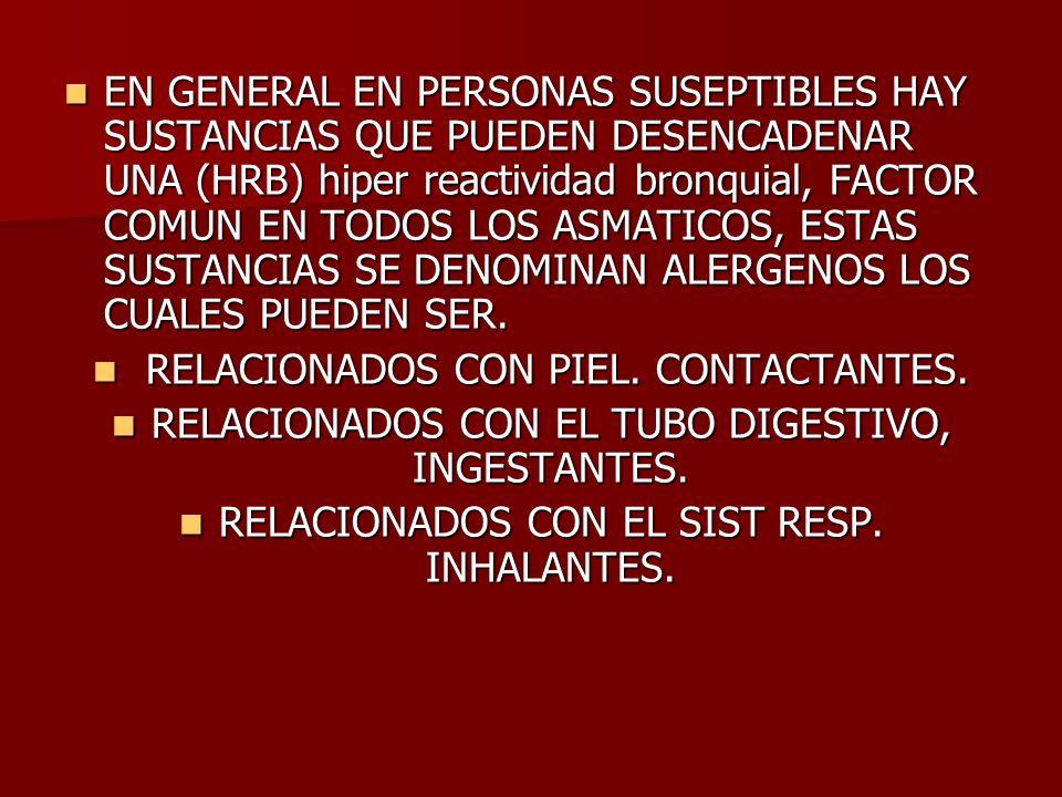RELACIONADOS CON PIEL. CONTACTANTES.