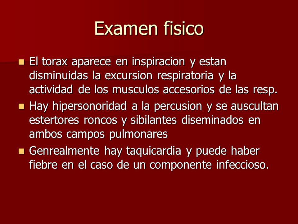 Examen fisico El torax aparece en inspiracion y estan disminuidas la excursion respiratoria y la actividad de los musculos accesorios de las resp.
