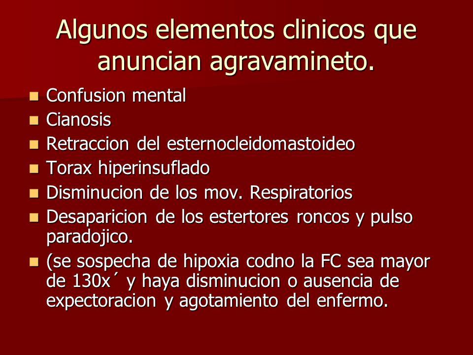 Algunos elementos clinicos que anuncian agravamineto.