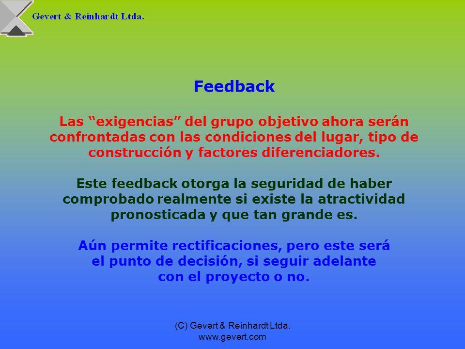 Feedback Las exigencias del grupo objetivo ahora serán confrontadas con las condiciones del lugar, tipo de construcción y factores diferenciadores.