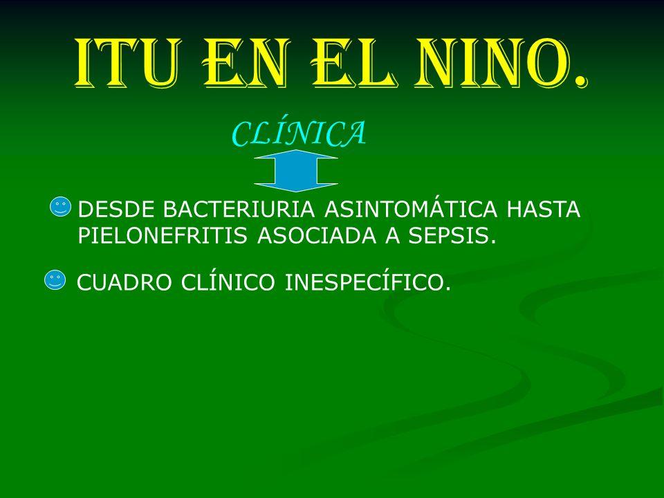 ITU EN EL NINO. CLÍNICA DESDE BACTERIURIA ASINTOMÁTICA HASTA