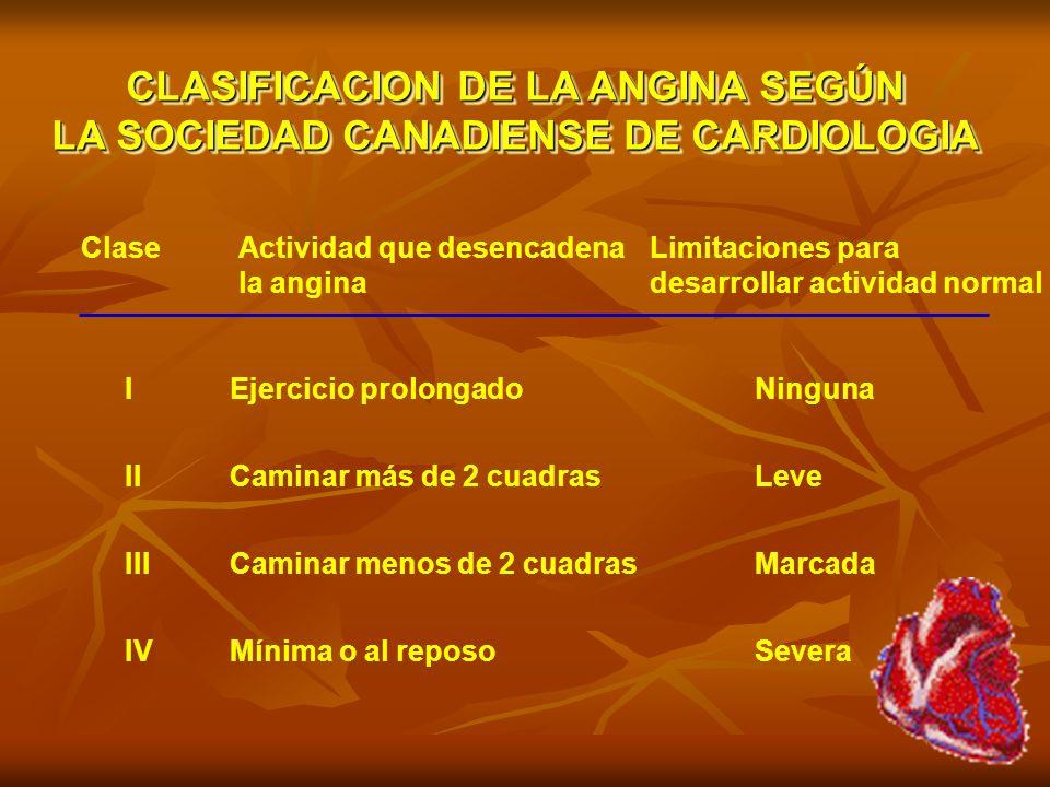 CLASIFICACION DE LA ANGINA SEGÚN LA SOCIEDAD CANADIENSE DE CARDIOLOGIA