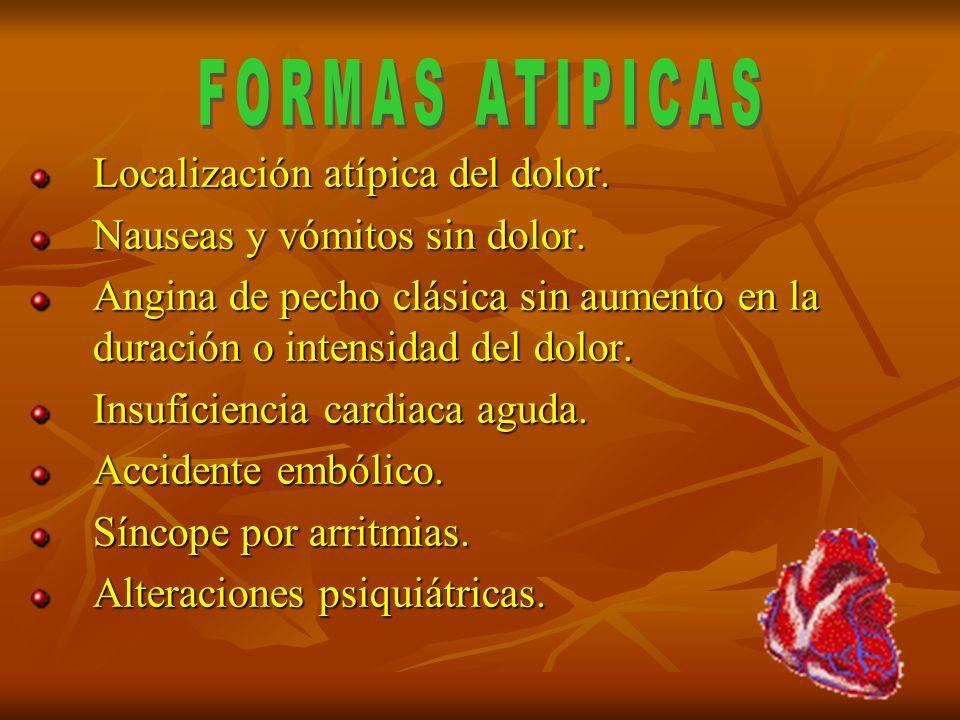 FORMAS ATIPICAS Localización atípica del dolor.