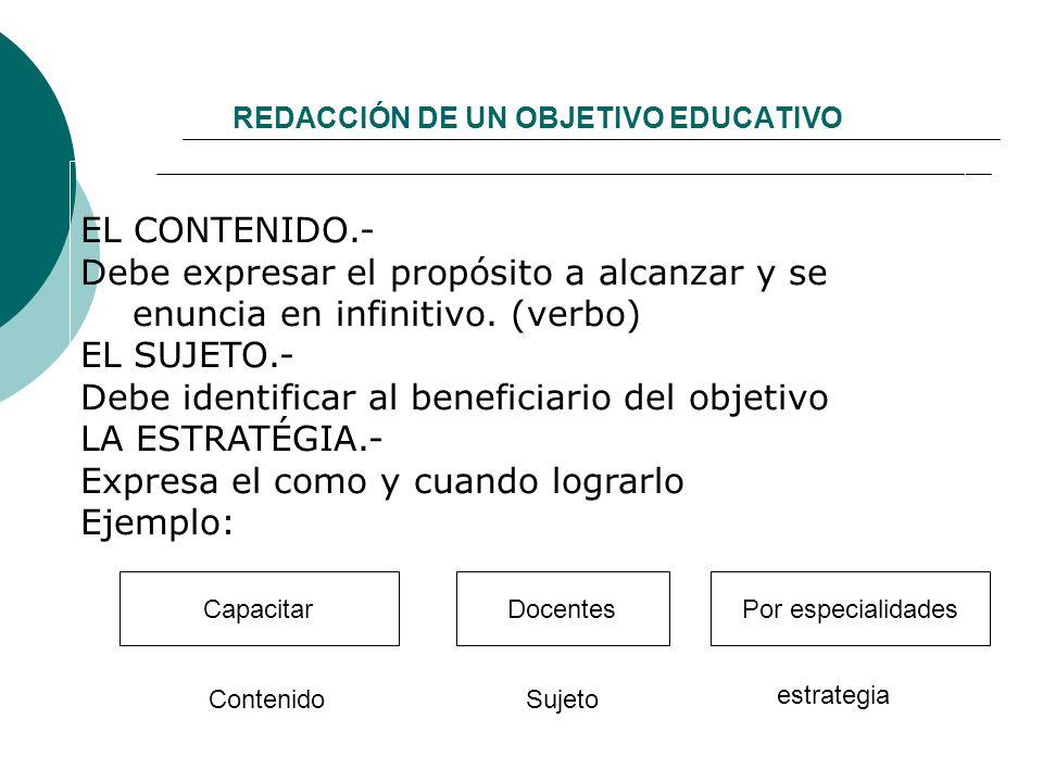 REDACCIÓN DE UN OBJETIVO EDUCATIVO