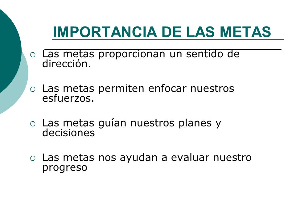 IMPORTANCIA DE LAS METAS
