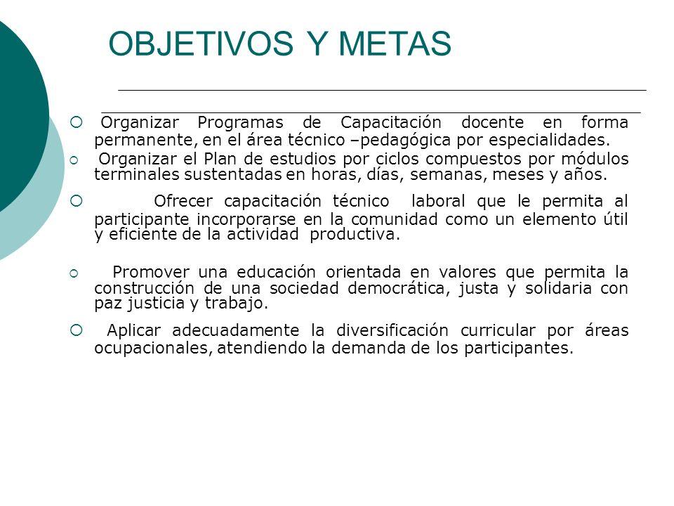 OBJETIVOS Y METAS Organizar Programas de Capacitación docente en forma permanente, en el área técnico –pedagógica por especialidades.