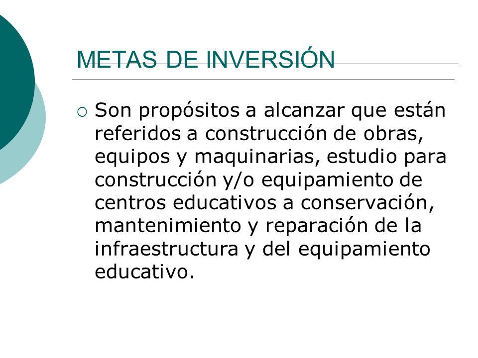 METAS DE INVERSIÓN