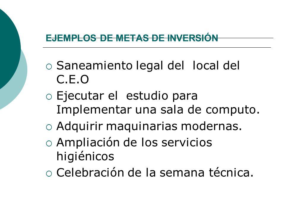 EJEMPLOS DE METAS DE INVERSIÓN