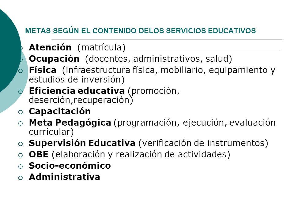 METAS SEGÚN EL CONTENIDO DELOS SERVICIOS EDUCATIVOS