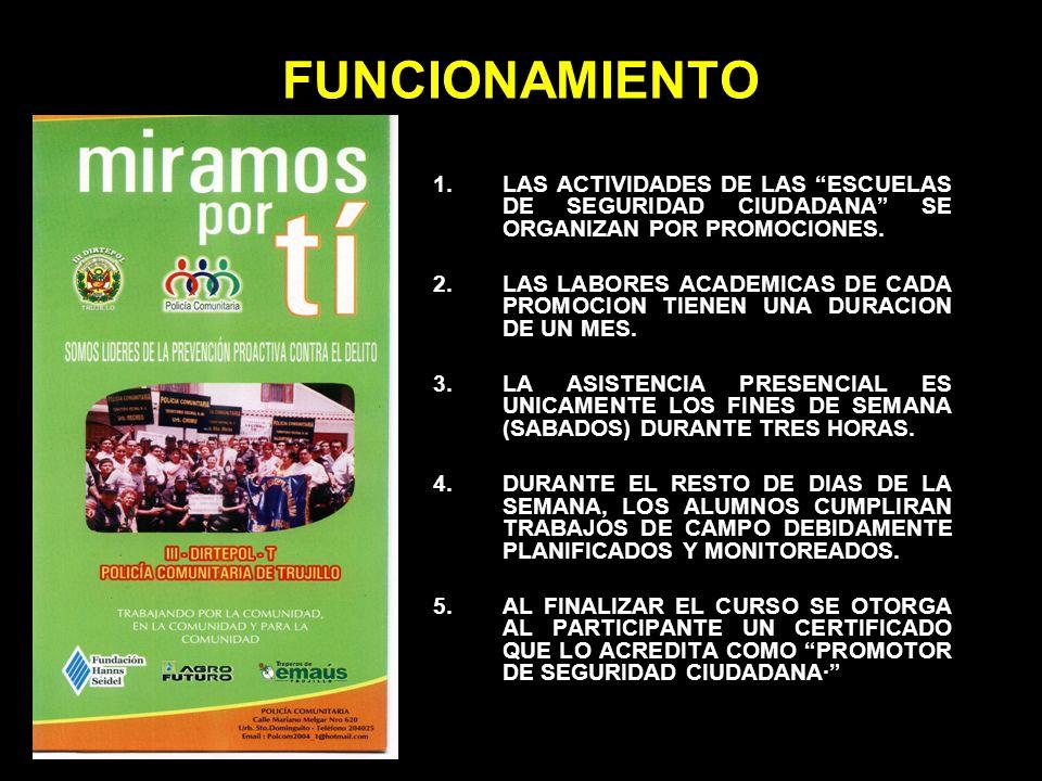 FUNCIONAMIENTO LAS ACTIVIDADES DE LAS ESCUELAS DE SEGURIDAD CIUDADANA SE ORGANIZAN POR PROMOCIONES.