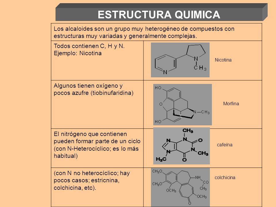ESTRUCTURA QUIMICA Los alcaloides son un grupo muy heterogéneo de compuestos con estructuras muy variadas y generalmente complejas.