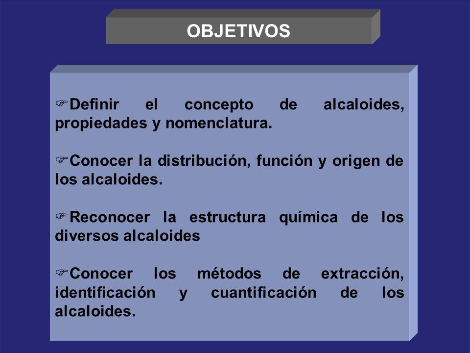 OBJETIVOS Definir el concepto de alcaloides, propiedades y nomenclatura. Conocer la distribución, función y origen de los alcaloides.