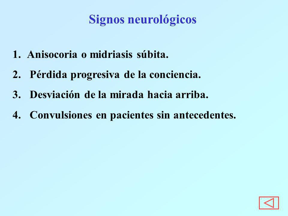 Signos neurológicos Anisocoria o midriasis súbita.