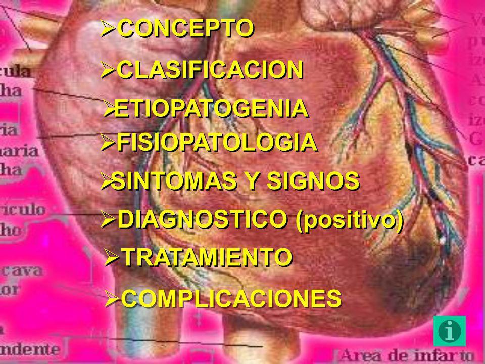 CONCEPTOCLASIFICACION. ETIOPATOGENIA. FISIOPATOLOGIA. SINTOMAS Y SIGNOS. DIAGNOSTICO (positivo) TRATAMIENTO.