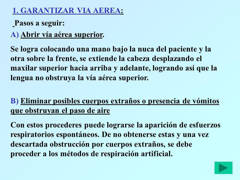 1. GARANTIZAR VIA AEREA: Pasos a seguir: A) Abrir vía aérea superior.