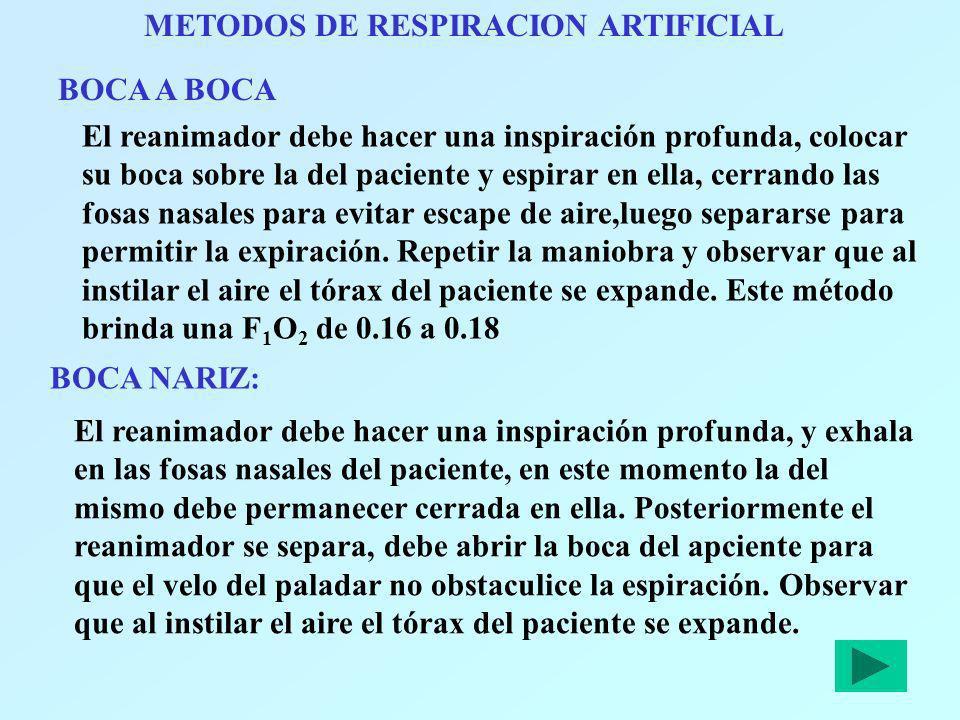 METODOS DE RESPIRACION ARTIFICIAL