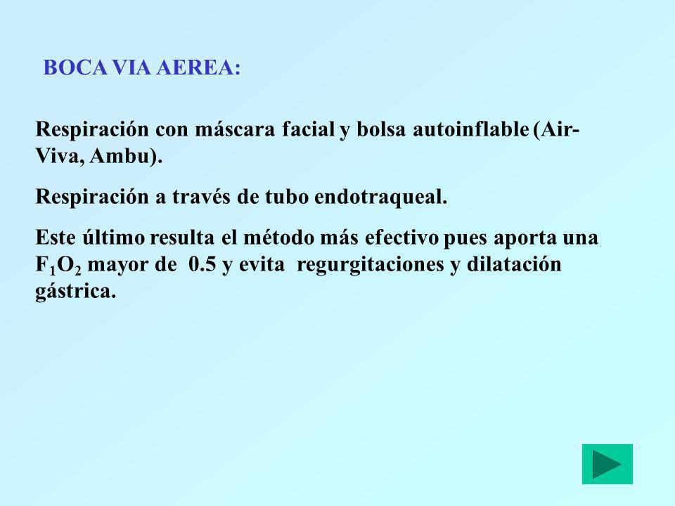 BOCA VIA AEREA:Respiración con máscara facial y bolsa autoinflable (Air-Viva, Ambu). Respiración a través de tubo endotraqueal.
