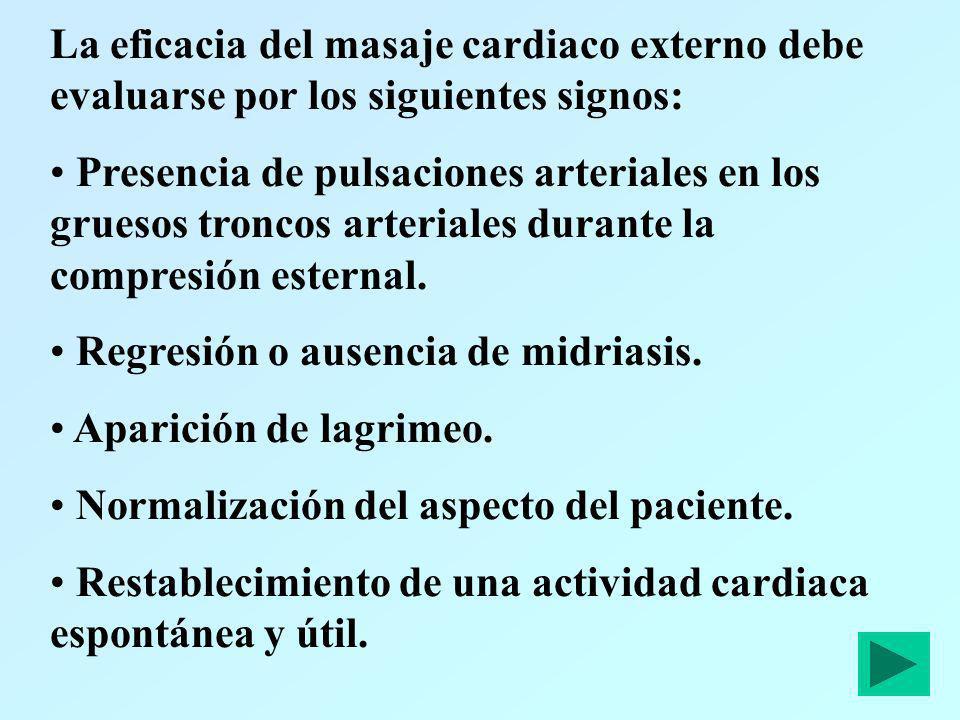La eficacia del masaje cardiaco externo debe evaluarse por los siguientes signos: