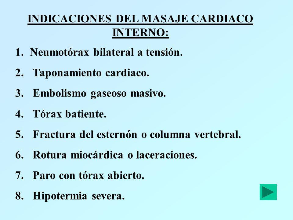 INDICACIONES DEL MASAJE CARDIACO INTERNO: