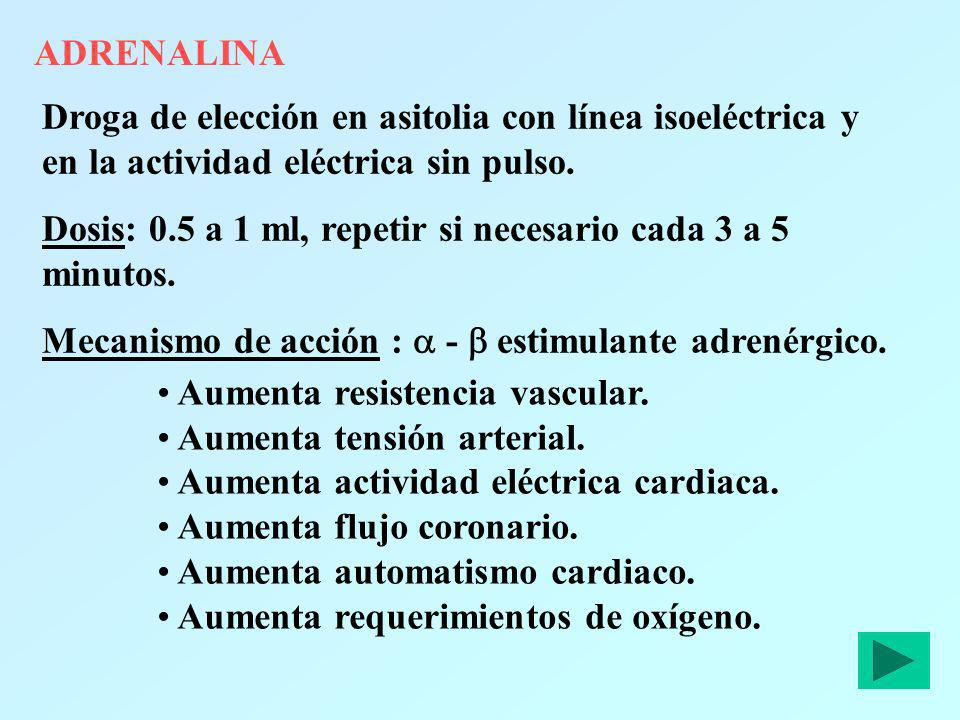 ADRENALINADroga de elección en asitolia con línea isoeléctrica y en la actividad eléctrica sin pulso.