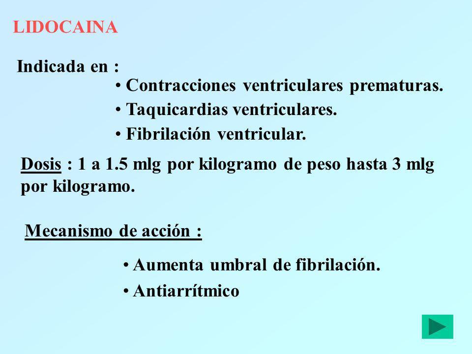LIDOCAINA Indicada en : Contracciones ventriculares prematuras. Taquicardias ventriculares. Fibrilación ventricular.