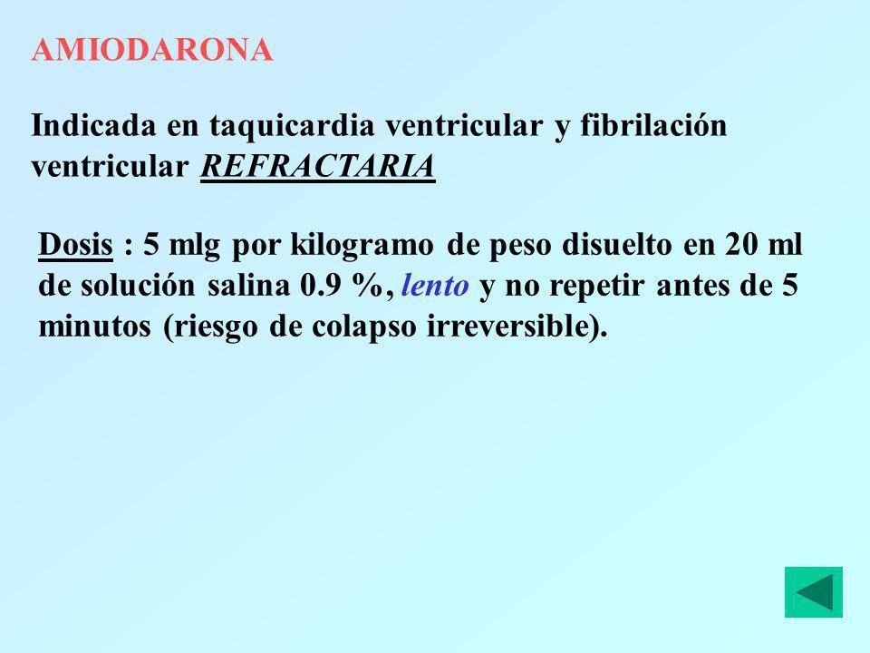 AMIODARONAIndicada en taquicardia ventricular y fibrilación ventricular REFRACTARIA.