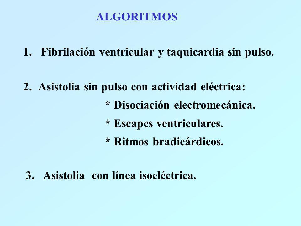 ALGORITMOS Fibrilación ventricular y taquicardia sin pulso. Asistolia sin pulso con actividad eléctrica:
