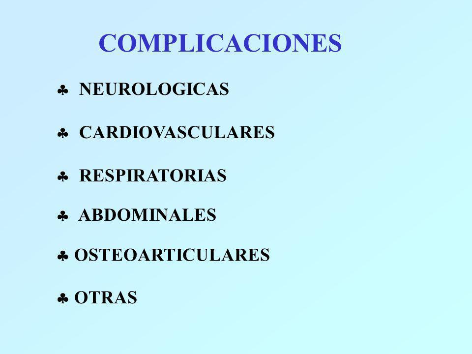 COMPLICACIONES NEUROLOGICAS CARDIOVASCULARES RESPIRATORIAS ABDOMINALES