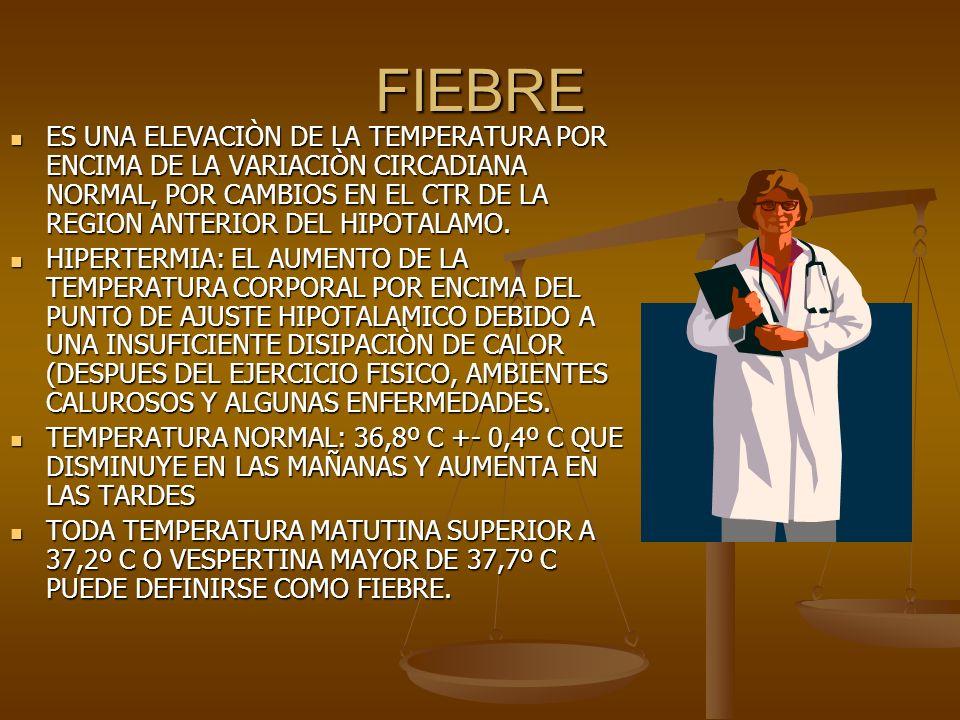 FIEBRE ES UNA ELEVACIÒN DE LA TEMPERATURA POR ENCIMA DE LA VARIACIÒN CIRCADIANA NORMAL, POR CAMBIOS EN EL CTR DE LA REGION ANTERIOR DEL HIPOTALAMO.