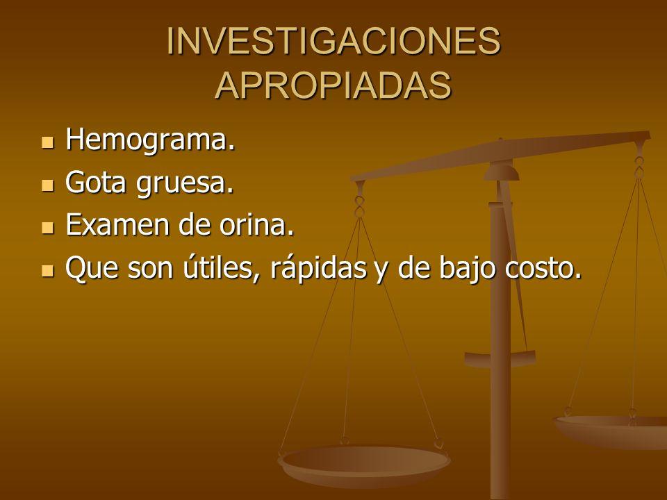 INVESTIGACIONES APROPIADAS
