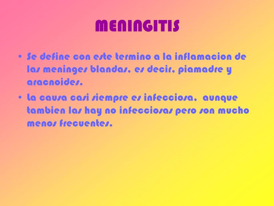 MENINGITIS Se define con este termino a la inflamacion de las meninges blandas, es decir, piamadre y aracnoides.