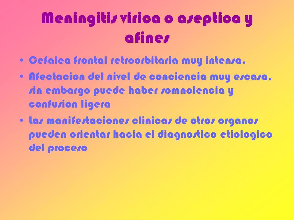 Meningitis virica o aseptica y afines