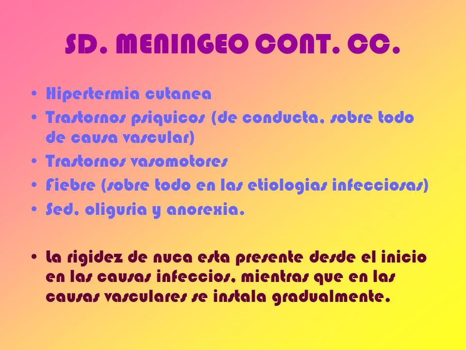 SD. MENINGEO CONT. CC. Hipertermia cutanea