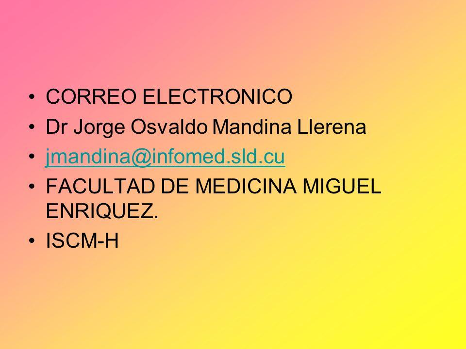 CORREO ELECTRONICO Dr Jorge Osvaldo Mandina Llerena. jmandina@infomed.sld.cu. FACULTAD DE MEDICINA MIGUEL ENRIQUEZ.