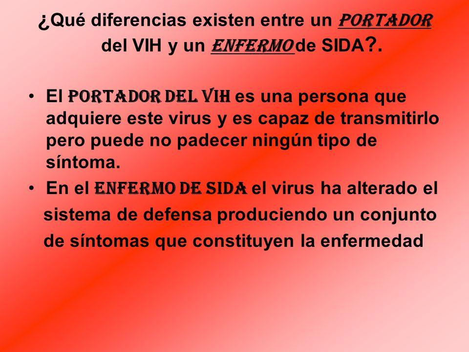 ¿Qué diferencias existen entre un portador del VIH y un enfermo de SIDA .