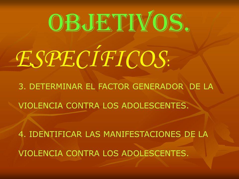 OBJETIVOS. ESPECÍFICOS: 3. DETERMINAR EL FACTOR GENERADOR DE LA
