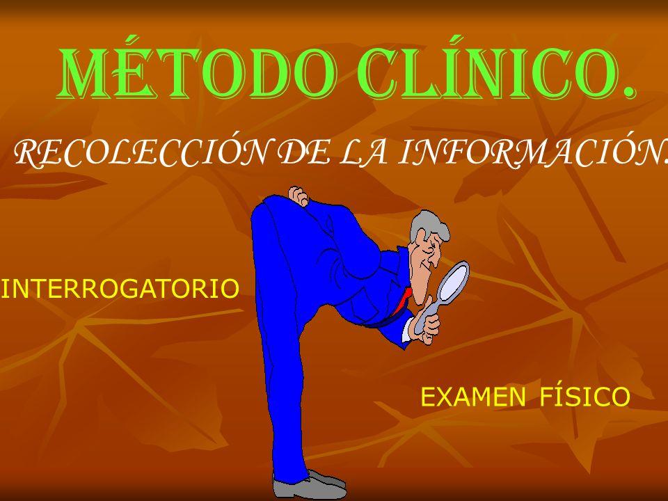 MÉTODO CLÍNICO. RECOLECCIÓN DE LA INFORMACIÓN. INTERROGATORIO