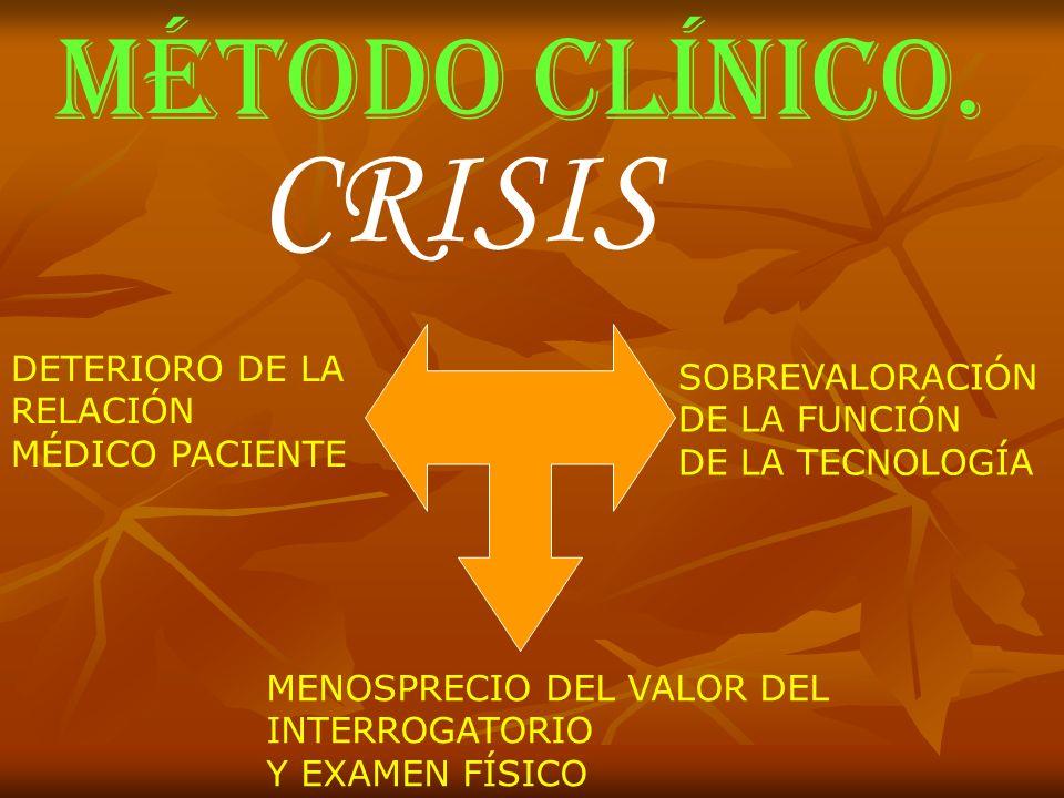 CRISIS MÉTODO CLÍNICO. DETERIORO DE LA SOBREVALORACIÓN RELACIÓN