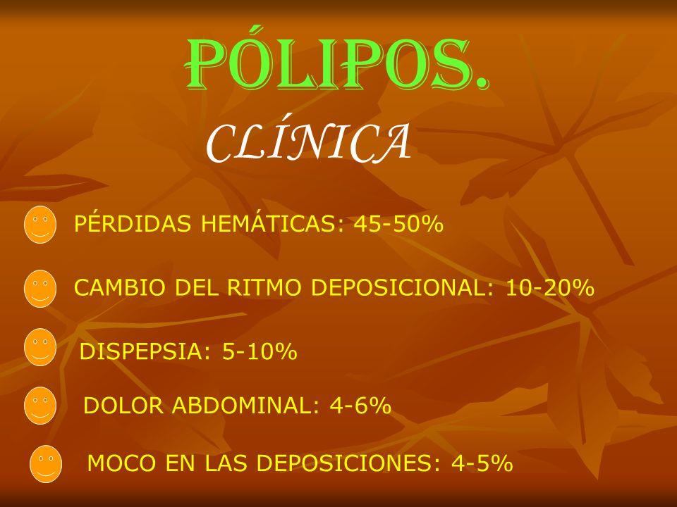 PÓLIPOS. CLÍNICA PÉRDIDAS HEMÁTICAS: 45-50%