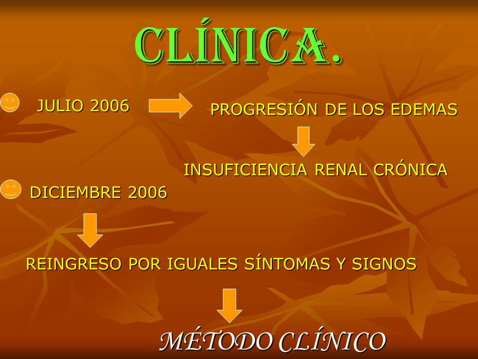 CLÍNICA. MÉTODO CLÍNICO JULIO 2006 PROGRESIÓN DE LOS EDEMAS