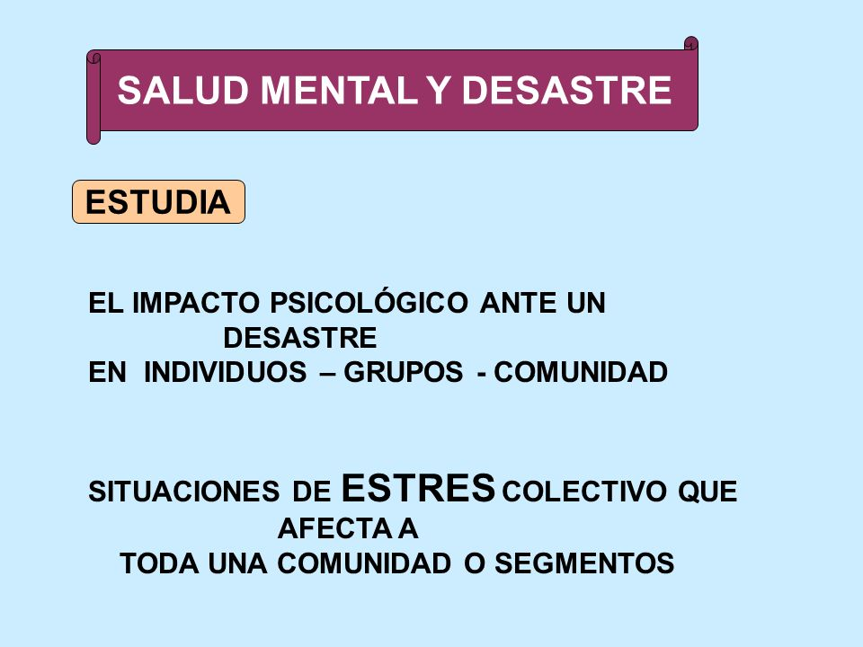 SALUD MENTAL Y DESASTRE