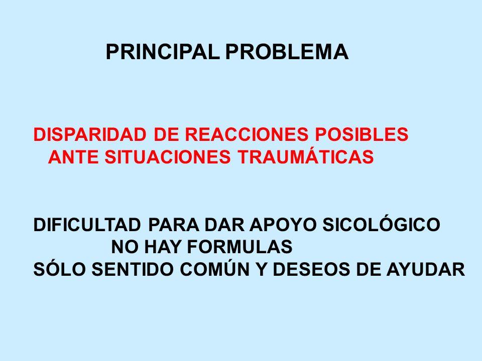 PRINCIPAL PROBLEMA DISPARIDAD DE REACCIONES POSIBLES