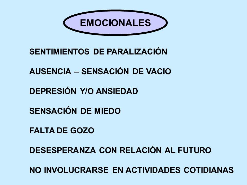 EMOCIONALES SENTIMIENTOS DE PARALIZACIÓN AUSENCIA – SENSACIÓN DE VACIO