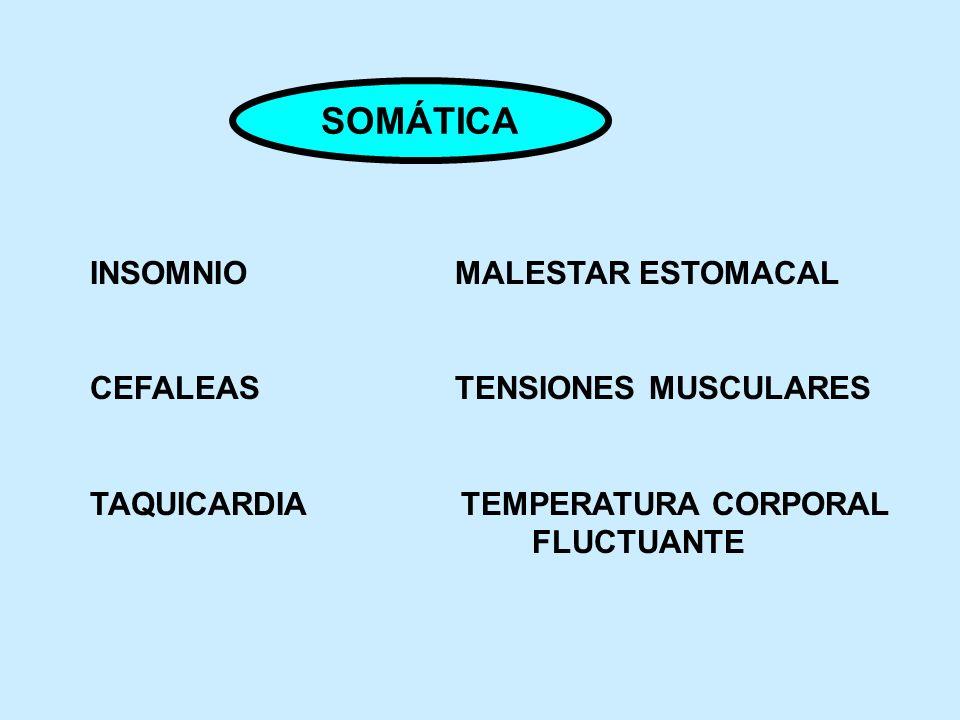 SOMÁTICA INSOMNIO MALESTAR ESTOMACAL CEFALEAS TENSIONES MUSCULARES