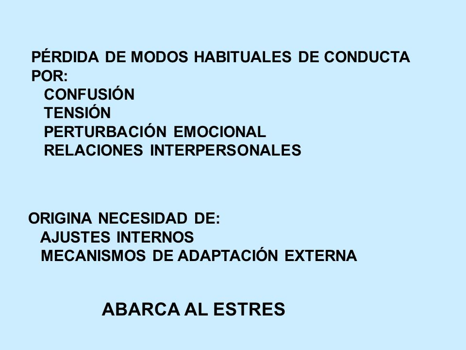 ABARCA AL ESTRES PÉRDIDA DE MODOS HABITUALES DE CONDUCTA POR: