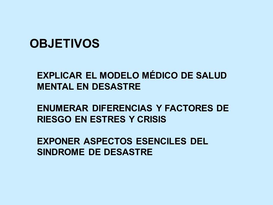 OBJETIVOS EXPLICAR EL MODELO MÉDICO DE SALUD MENTAL EN DESASTRE