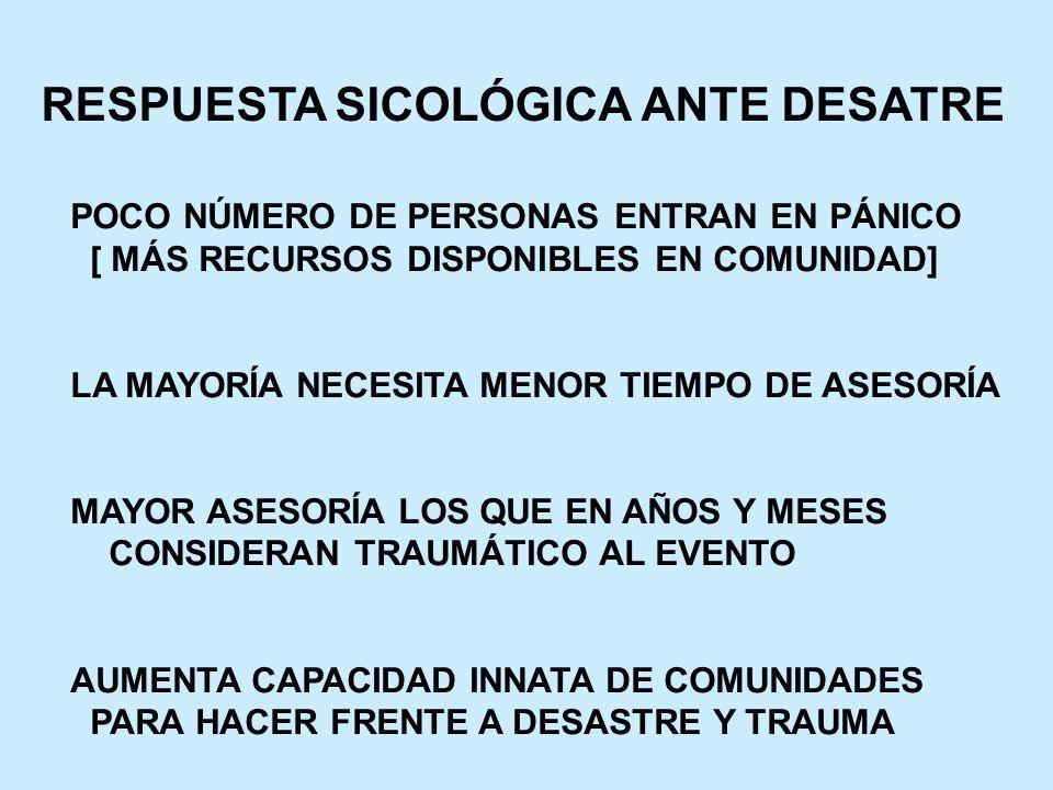 RESPUESTA SICOLÓGICA ANTE DESATRE