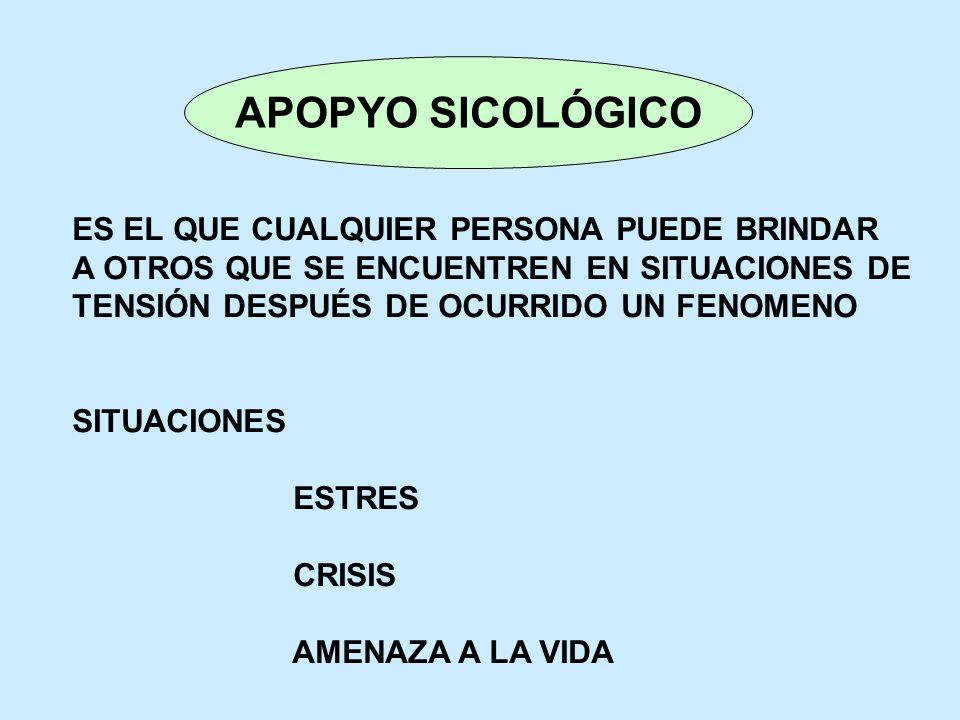 APOPYO SICOLÓGICO ES EL QUE CUALQUIER PERSONA PUEDE BRINDAR